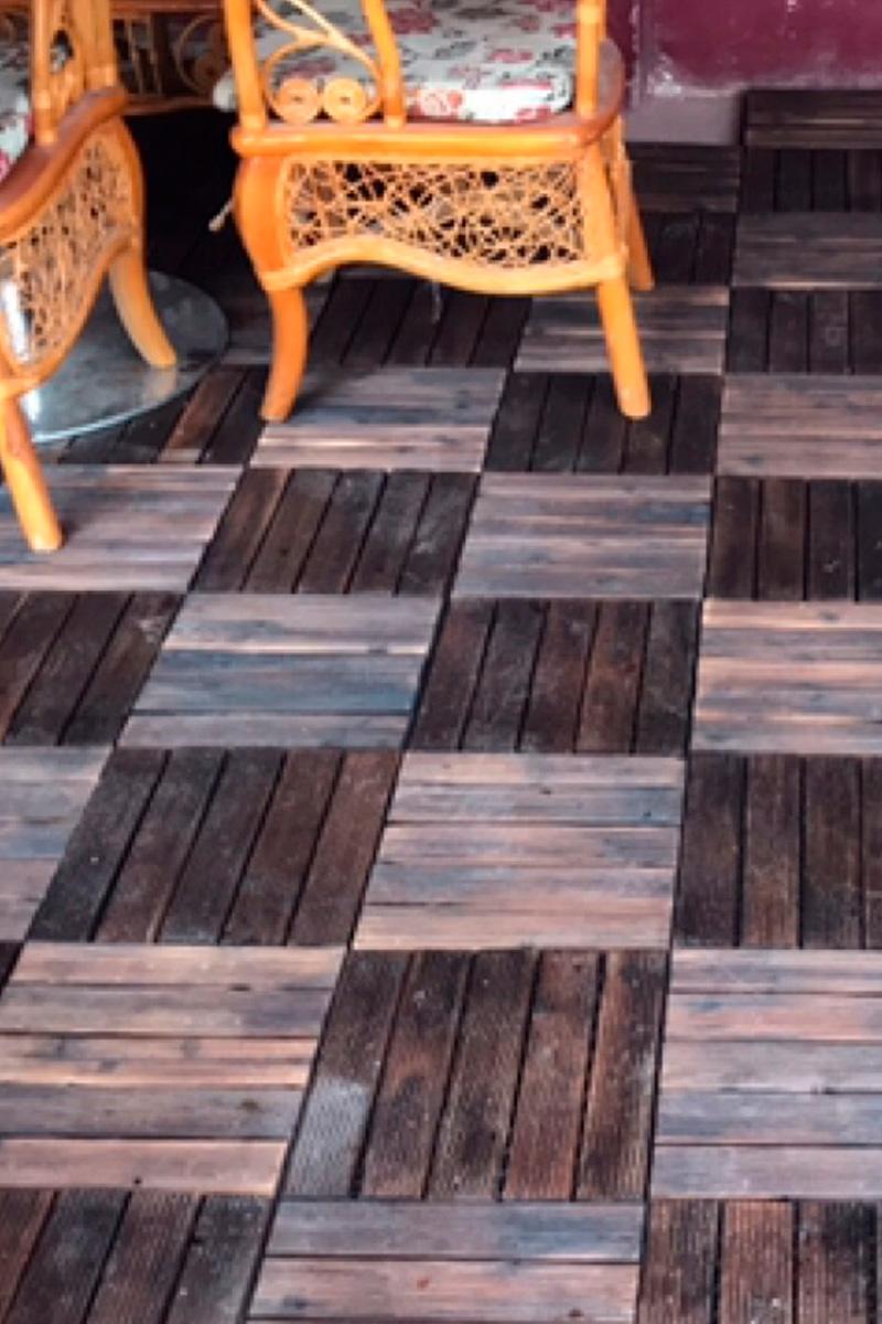防腐木碳化木户外室内实木板 木质露台防滑拼接地板新品包邮