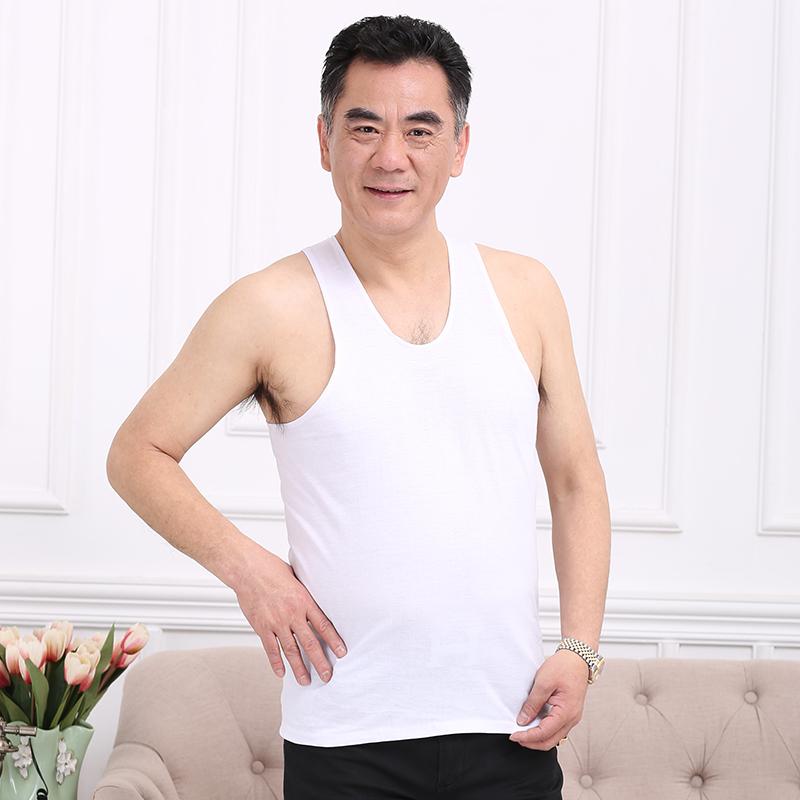 老头衫中老年人全棉白背心男夏季纯棉圆领短袖加肥加大码宽松汗衫