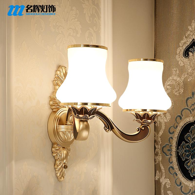 客厅壁灯欧式壁灯玉石水晶壁灯别墅大气过道壁灯墙壁灯温馨床头灯