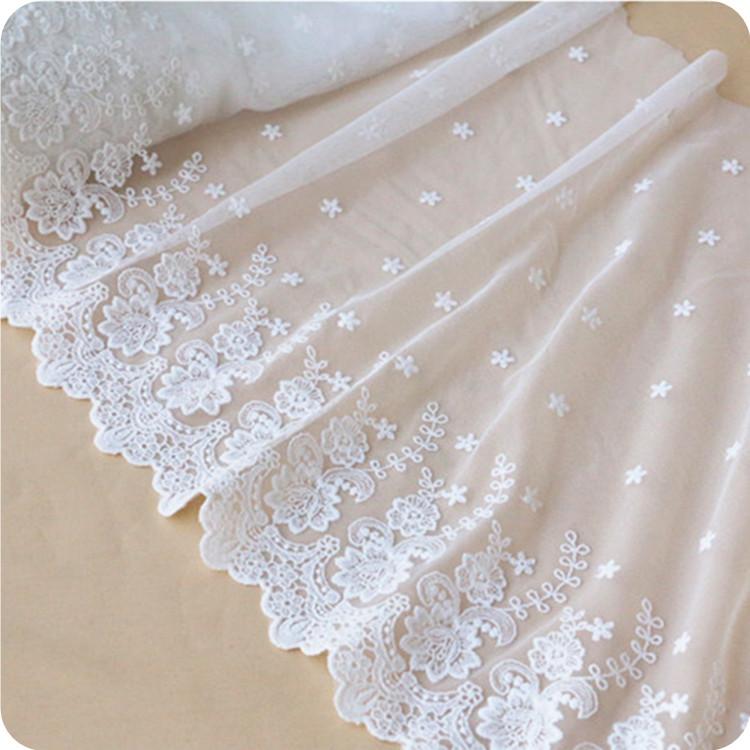 白色蕾絲花邊布料 質感立體花 衣襬  裙襬刺繡花面料 窗簾花邊