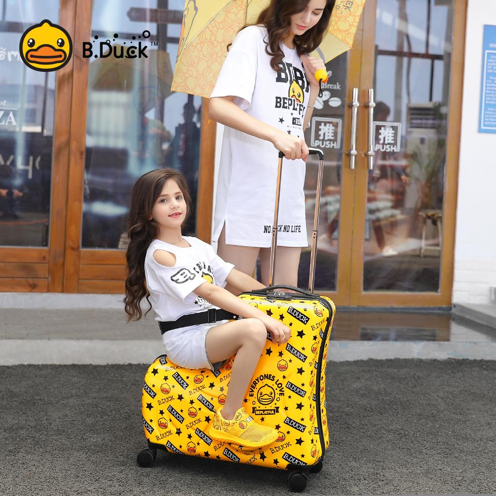 寸网红宝宝拉杆箱男女 2024 小黄鸭儿童可坐可骑行李箱万向轮 B.Duck