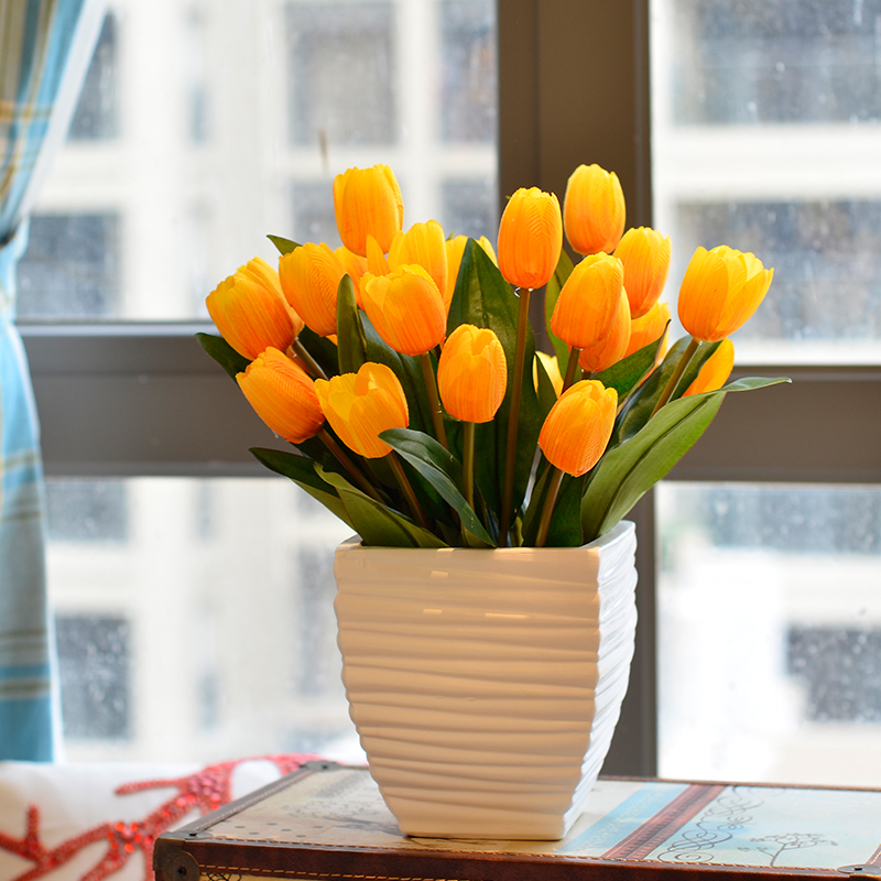 郁金香假花仿真花套装包邮 家居饰品客厅摆设餐桌 装饰花花艺