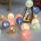 Net decorative holiday red star lights small lantern string lights flashing cotton ball room layout romantic confession girl's mind