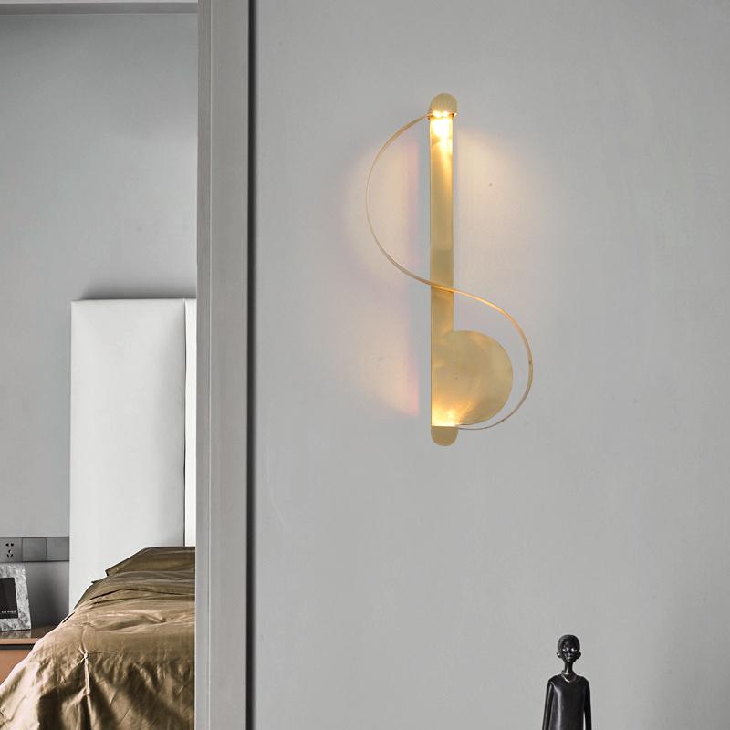 壁灯客厅全铜音符创意床头灯卧室壁灯电池无线楼梯 装电池充电款