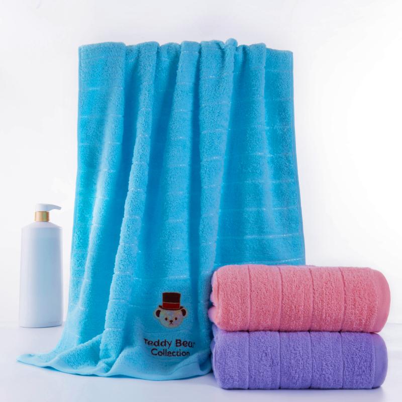 潔麗雅浴巾薄款泰迪熊簡約浴巾純棉成人柔軟吸水便攜旅行情侶浴巾
