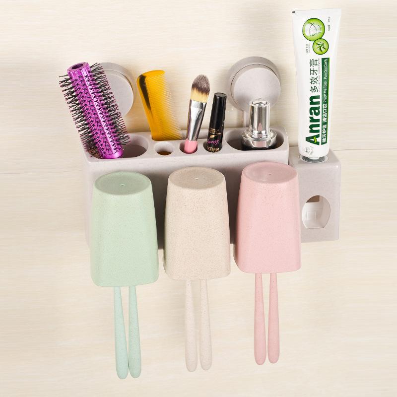泽熙多功能吸盘式牙刷架卫生间浴室置物架无痕吸盘式洗漱挤牙膏器