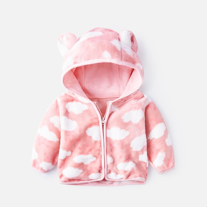 宝宝外套冬男0一1岁婴儿外出休闲珊瑚绒上衣保暖秋冬男小童拉链衫