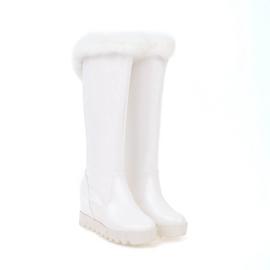 2017冬季真兔毛套筒内增高中跟厚底圆头女士雪地高筒靴大小码定做