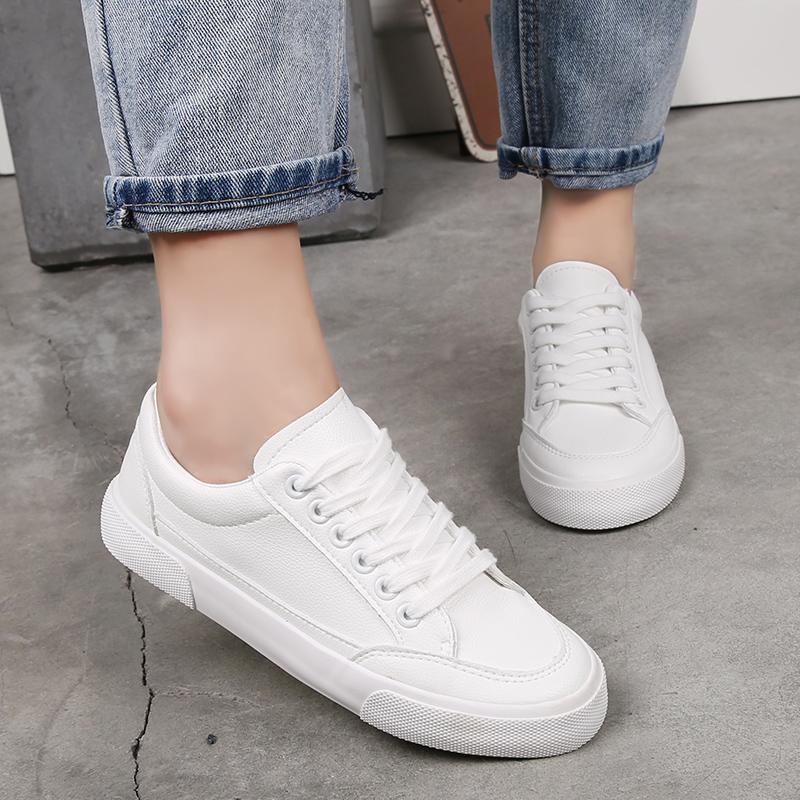板鞋秋季 1992 新款小白鞋女鞋学生平底百搭帆布鞋韩版白鞋白色 2018