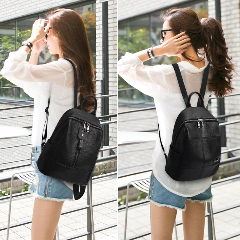 双肩包女2019新款韩版百搭软皮包大容量妈妈中年妇女旅行两用背包