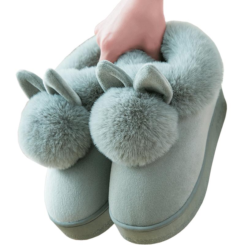 高跟棉拖鞋女冬包跟室内可爱居家用厚底毛绒家居月子加绒棉鞋冬天