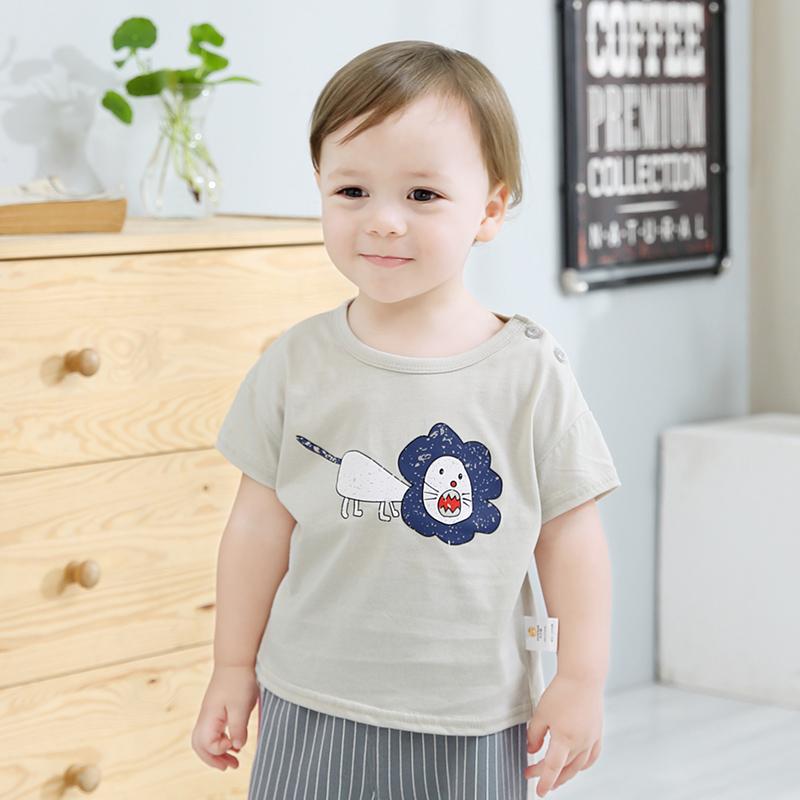 齐齐熊 1-3岁男女宝宝短袖t恤婴幼儿夏装卡通休闲圆领洋气上衣潮
