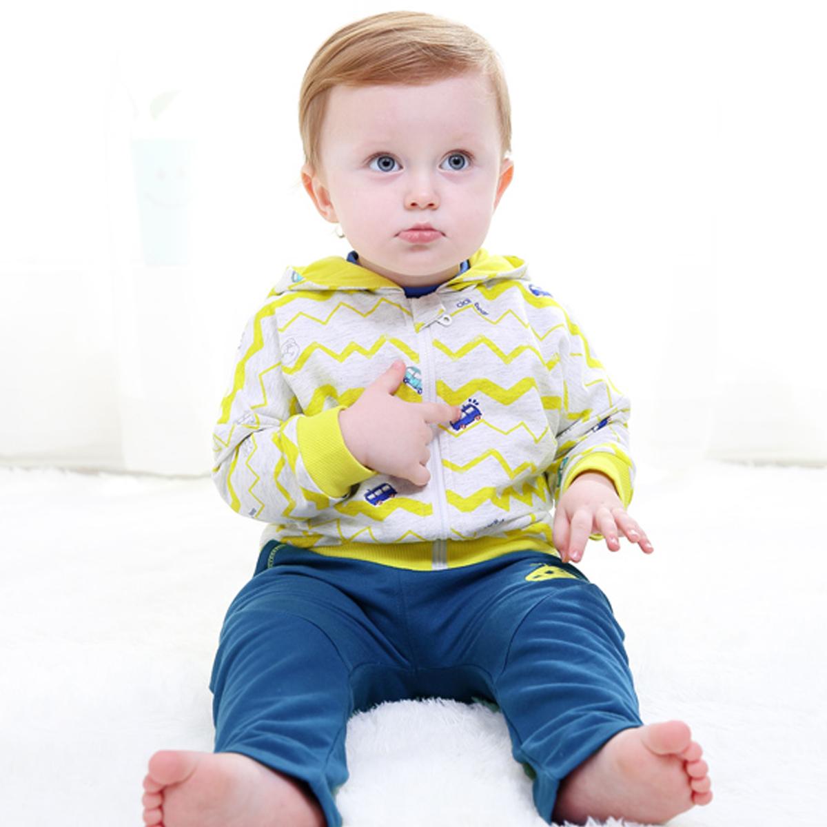 齐齐熊 男女宝宝秋款纯棉长袖套装婴幼儿拉链连帽休闲星星两件套