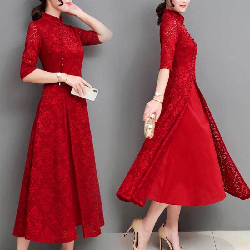 旗袍女改良夏装2020新款复古中国风长裙有女人味的气质蕾