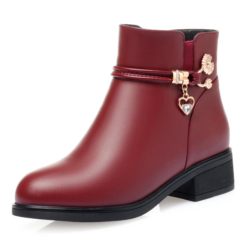 妈妈鞋棉鞋女秋冬季中年真皮软底短靴中跟防滑加绒皮鞋中老年女鞋