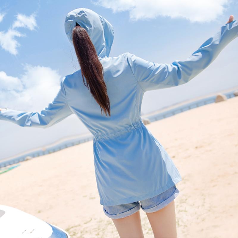 2021新款防晒衣女夏季韩版中长款百搭防晒服薄款外套女夏天防晒衫高清大图