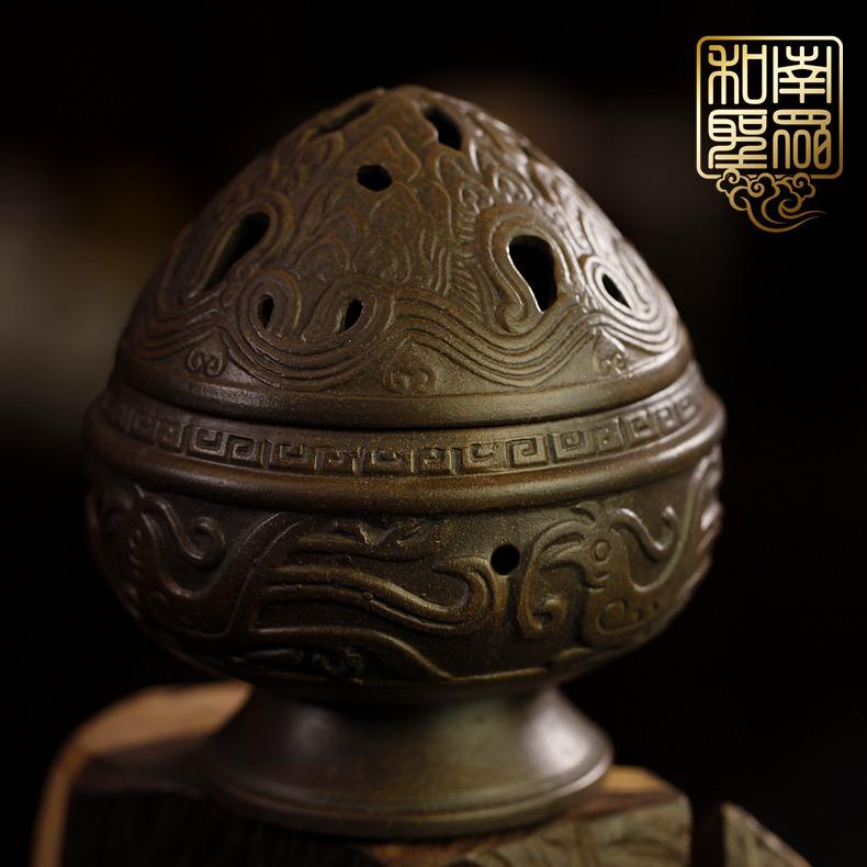 中式家居室内熏香炉檀香盘香炉书房茶道香器手工紫砂博山炉摆件
