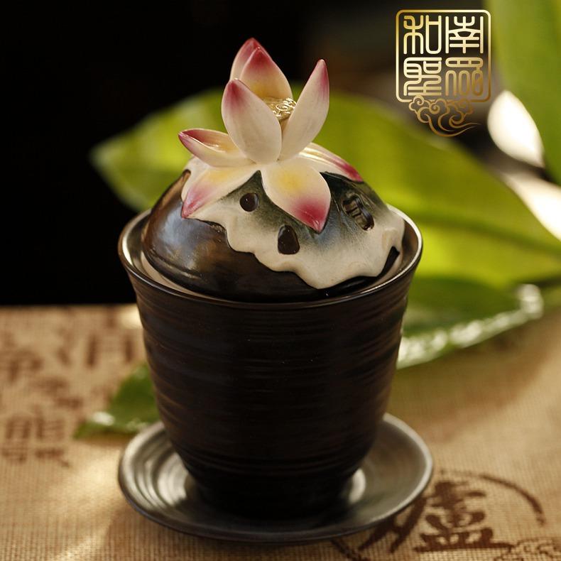 大悲水 和南圣众佛堂用品圣水杯贡杯彩绘陶瓷供杯立体莲花供水杯