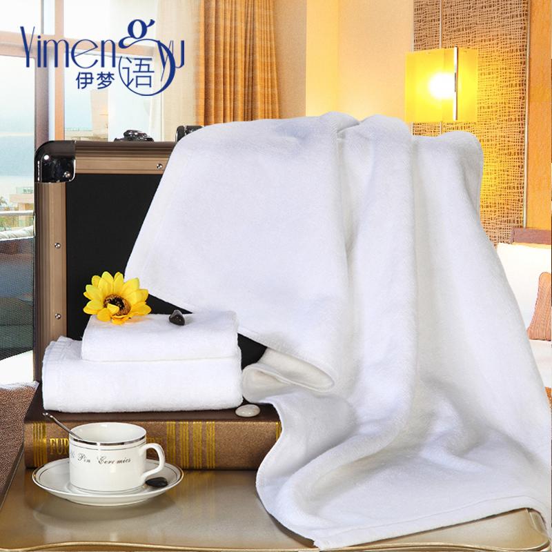 五星級酒店賓館全棉面巾白色緞邊格加厚毛巾柔軟成人洗臉巾吸水巾