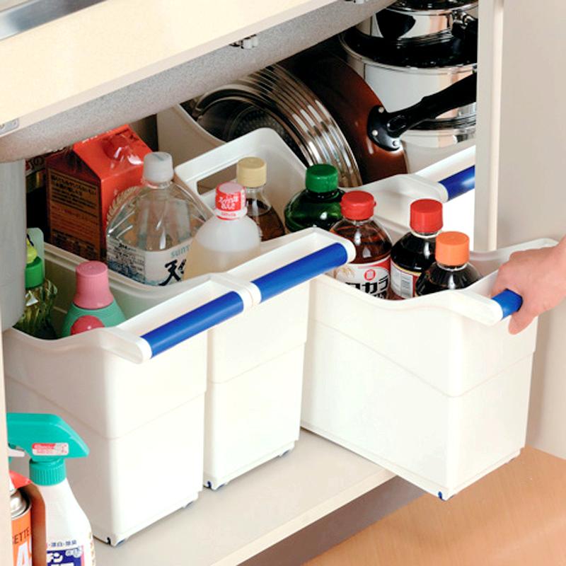 廚房收納箱下水槽櫥櫃抽屜式收納盒鍋具鍋蓋儲物箱調味料品收納筐