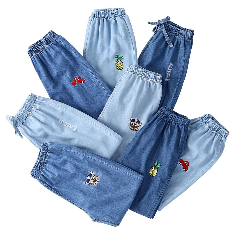 女童牛仔裤2019新款春装薄款中大童休闲宽松男童夏季儿童防蚊裤子