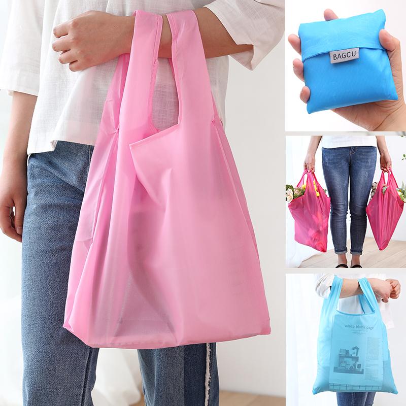 時尚可摺疊環保超市購物袋 便攜加大尼龍收納袋雜物袋 印花手提袋