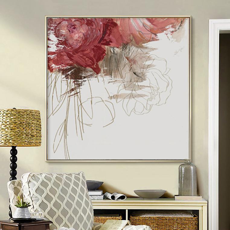 纯手绘l抽象油画法式浪漫装饰画现代简约美式花卉客厅玄关挂画