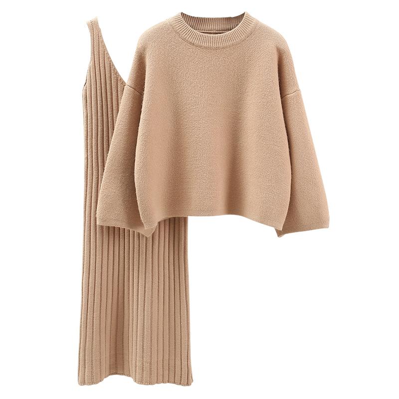 韩版宽松毛衣套装女时尚两件套裙子2019春秋季纯色学生套头针织衫
