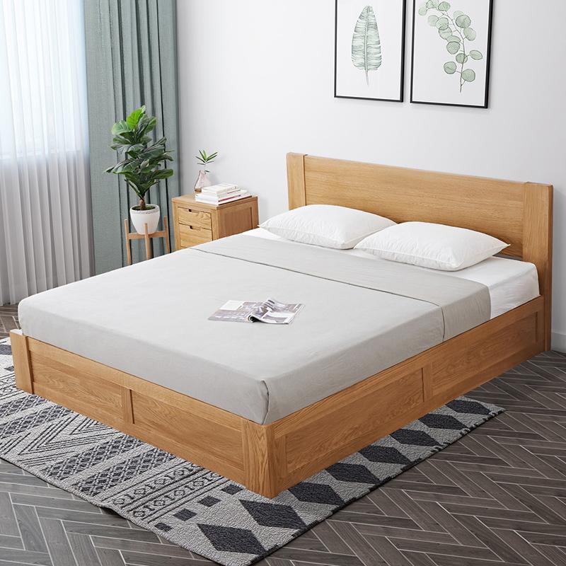 华谊北欧实木高箱床1.5米储物床橡木1.8米箱体床收纳床卧室双人床