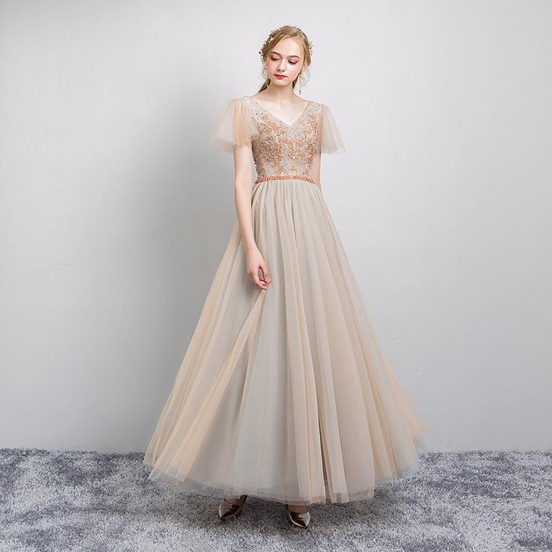 伴娘服2019新款晚礼服女香槟色宴会长款礼服高贵优雅气质名媛礼服