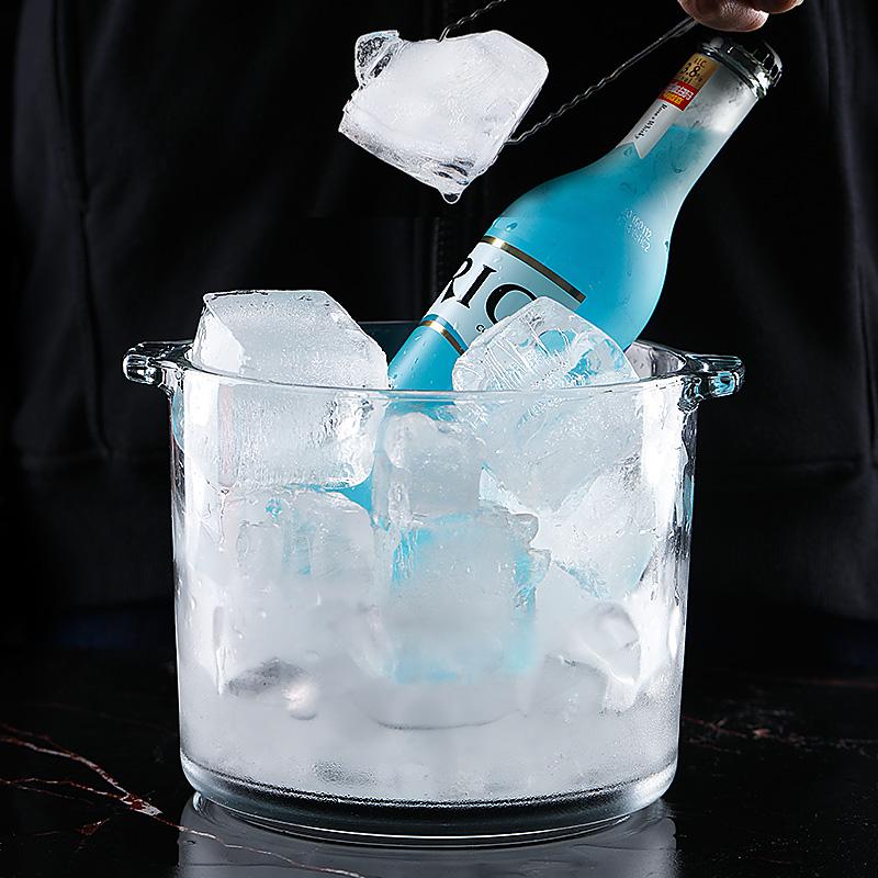 利比进口无铅玻璃冰桶冰块桶盛冰KTV酒吧大小号欧式冰块桶香槟桶
