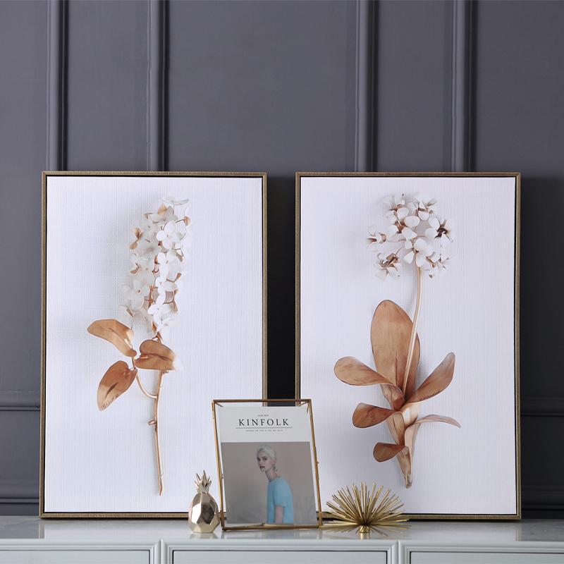 欧美式后现代样板间酒店房间沙发背景卧室客厅植物蒲公英装饰画