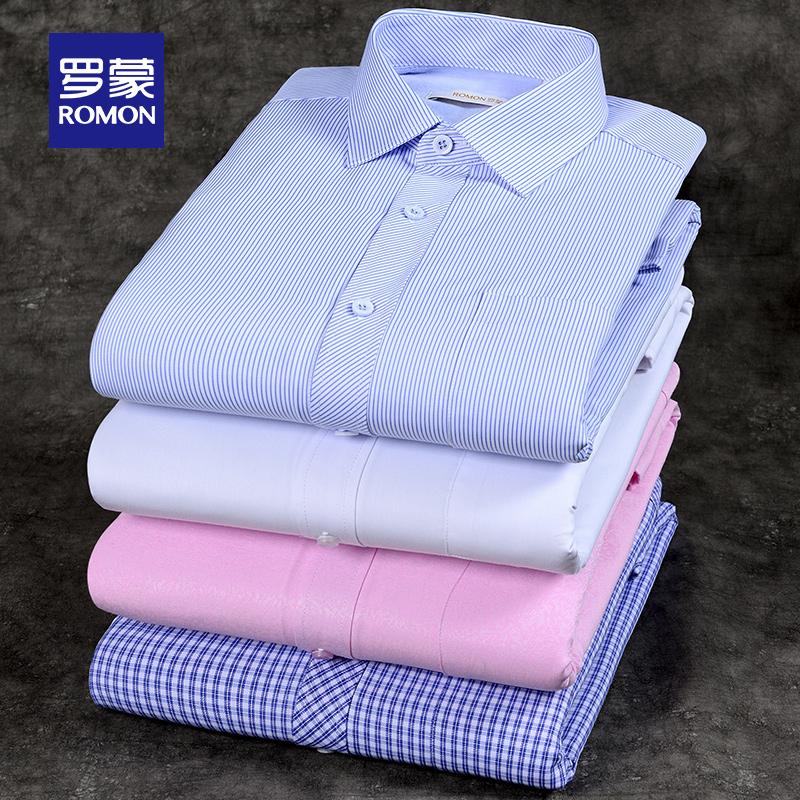 罗蒙保暖衬衫男加绒加厚2019冬季新款中青年职业工装长袖条纹衬衣