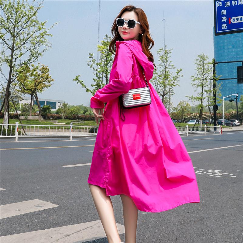 夏季新款韩版宽松骑车百搭过膝超薄风衣外套 2019 防晒衣女中长款