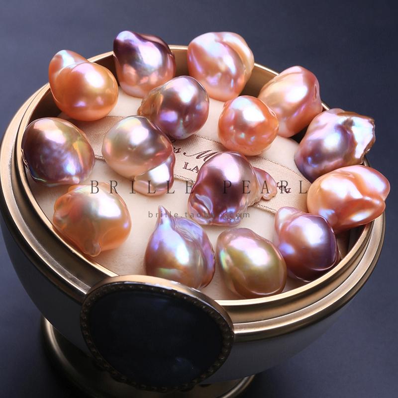 天然淡水异形巴洛克珍珠 大巴裸珠 炫彩妖紫怪色镶嵌项链