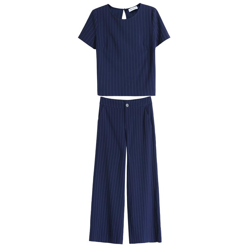 2019春夏新款阔腿裤套装女装时尚条纹大码工装裤子职业两件套夏装