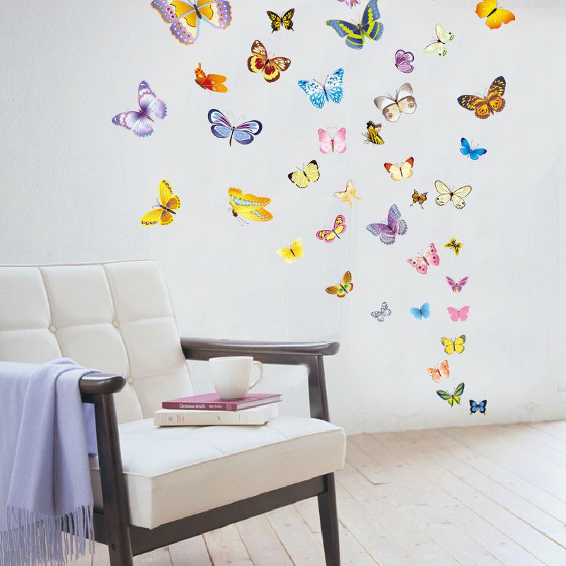50只蝴蝶牆貼 DIY組合貼畫兒童房臥室客廳裝飾貼可移除牆貼紙貼圖