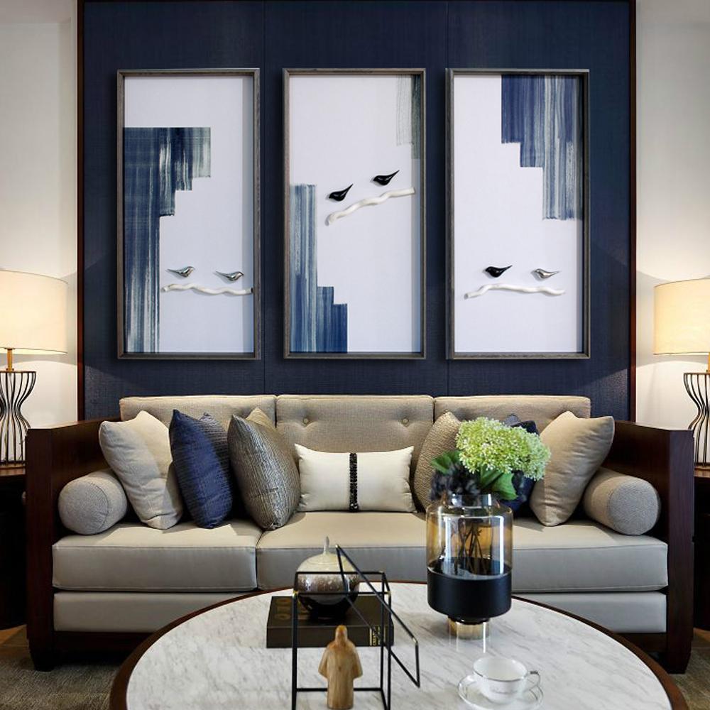 美画立体艺术画客厅现代装饰画玄关走廊竖版壁画别墅茶室挂画三联