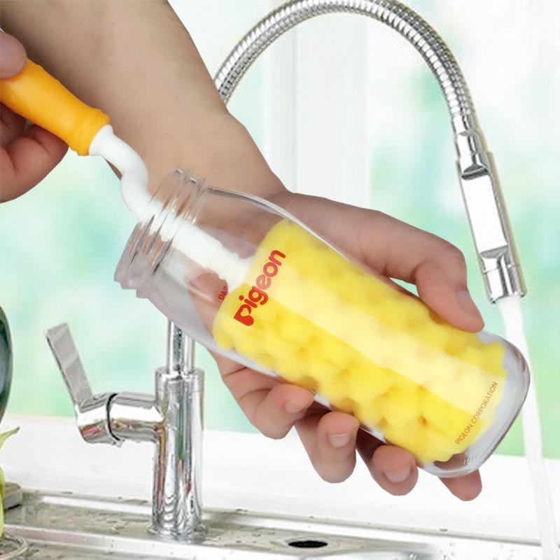 日康婴儿宽口玻璃塑料奶瓶刷加大号海绵奶嘴刷子吸管刷宝宝清洁刷