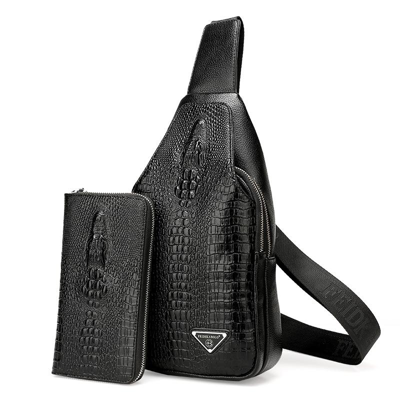 新款鳄鱼纹男包男士胸包单肩斜挎包运动休闲包包背包 2018 送手包