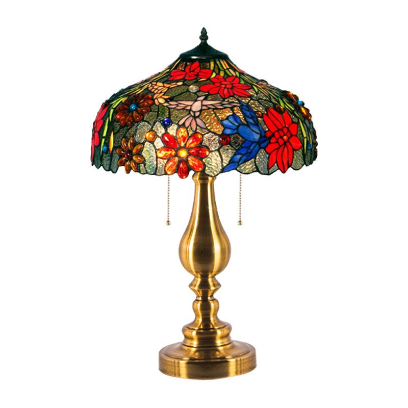 床头灯 led 蒂凡尼欧式复古卧室书房装饰台灯客厅玻璃地中海可调
