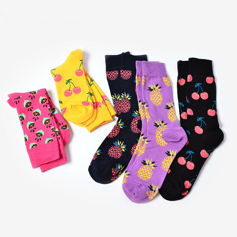 街头潮流中筒袜嘻哈滑板袜男女情侣快乐袜子水果图案系列纯棉堆袜