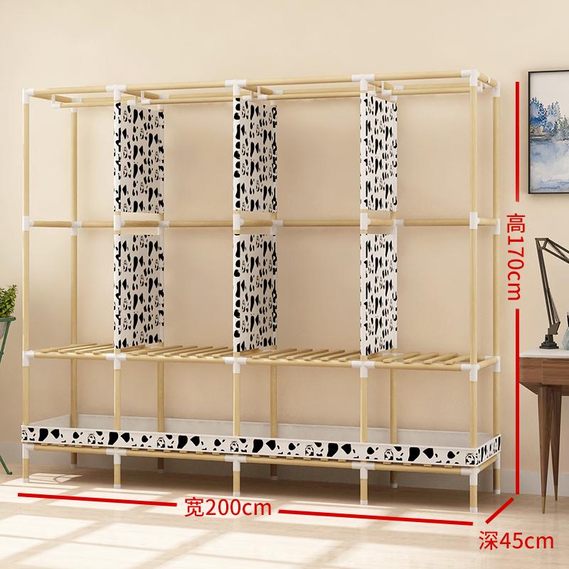 布衣柜简约现代经济型组装实木板式租房卧室推拉门布艺省空间衣柜