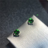 Lin Hee. 18K Color Gold Rose Gold Gold Inlaid 5A Diopside Emerald Earrings Round 5mm 6mm