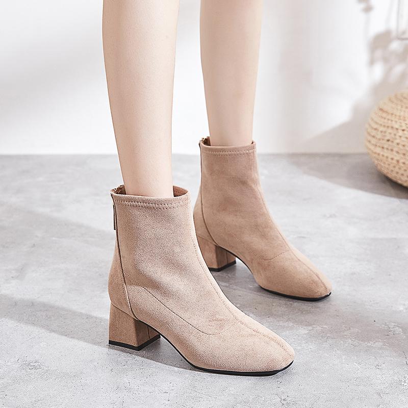 方头粗跟短靴女春秋2018新款加绒网红瘦瘦靴冬短筒马丁靴中跟裸靴