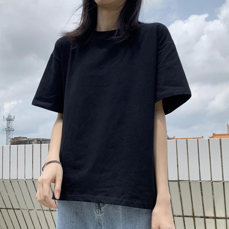 纯棉夏装短袖t恤女黑色宽松显瘦半袖大码韩版2021新款上衣服ins潮