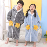 Child stars robe autumn and winter boys and girls flannel pajamas bathrobe coral velvet tracksuit thick outerwear