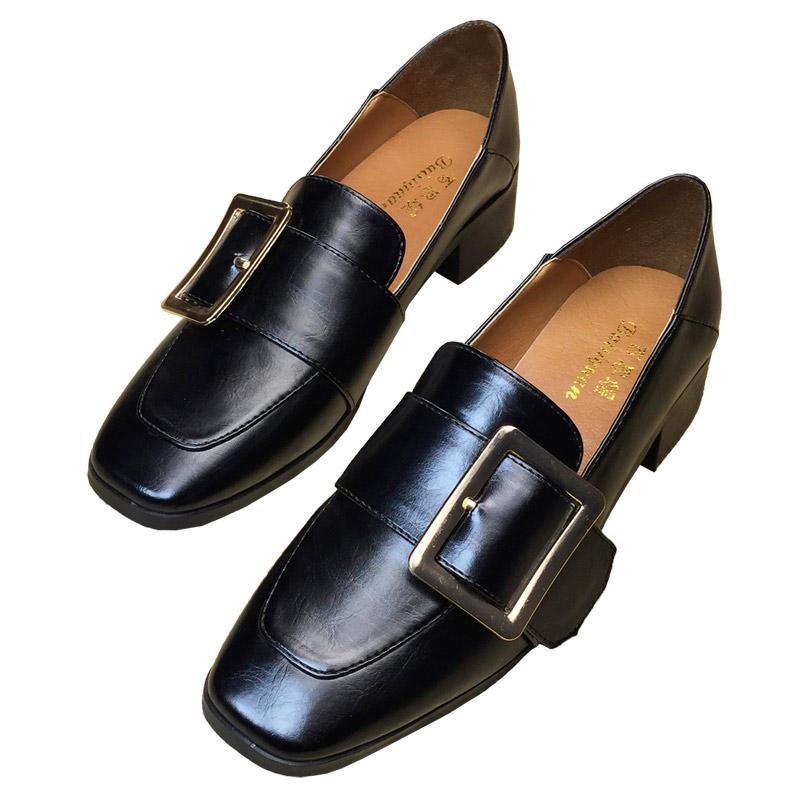 女鞋2019新款秋鞋乐福鞋女粗跟单鞋秋季百搭中跟秋款英伦风小皮鞋