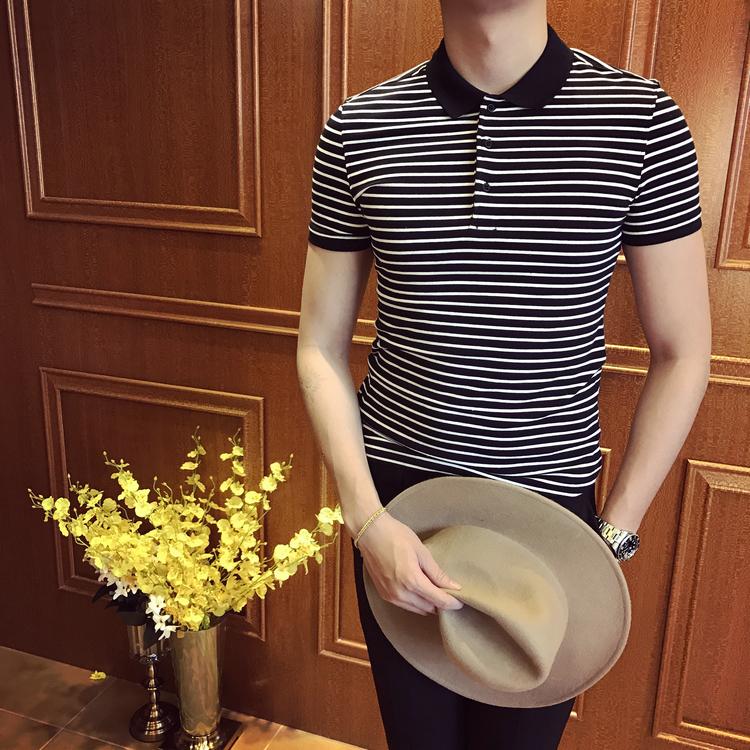 夏季男装英伦韩国韩版修身纯棉黑白条纹POLO衫休闲日系清新保罗衫