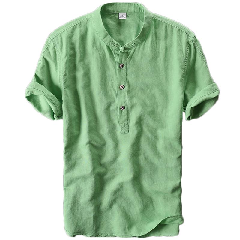 中国风亚麻料短袖T恤男盘扣立领棉麻复古薄款宽松圆领半袖衬衫夏